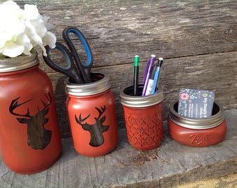 Deer Mason Jar Desk Set-Desk Set-Mason Jar Office-Desk Organizer-Desk Set-Mason Jar Office Set-Office Set-Desk Decor- Desk Set-cabin decor-