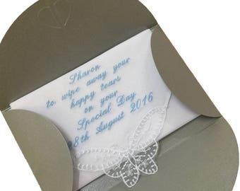 Ladies Personalised Handkerchief, Butterfly lace corner