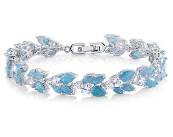Light Blue Bracelet Wedding Bracelet CZ Bracelet Bridesmaids Bracelet Bridesmaids Jewelry Prom Bracelet Crystal Bracelet CZ Jewelry