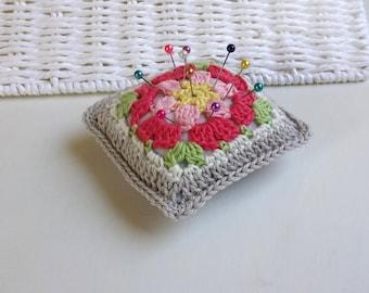 Handmade crochet pincushion, flower motif pincushion, granny square pincushion, floral mini crochet pillow, handmade Motherdays gift