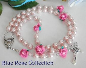 Catholic Rosary, Pink Rose Rosary, Glass Pearl Crystal Rosary, Catholic gift, baptism, communion, confirmation, heartfelt, retirement, etc.