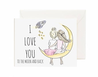 "Best Friends ""I Love You To The Moon And Back"" Valentine's Day Greeting Card"