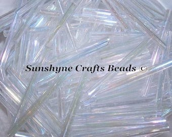 30MM Preciosa Czech Glass Seed Beads IRIS CRYSTAL MATTE Bugle 100 Pcs  - 47-B3111