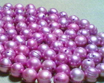 Freshwater potato pearls;  light violet, freshwater potato pearls, approximately 7-7.5x7mm, 12pcs/3.20.