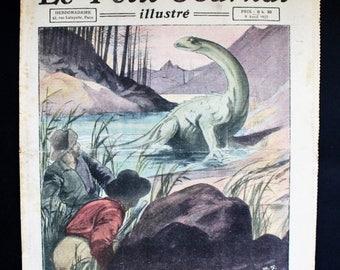 Antique French Newspaper. Le Petit Journal Illustré. Color Illustrations. Antique Ephemera. Mixed Media Art. French Journal. April 9, 1922.