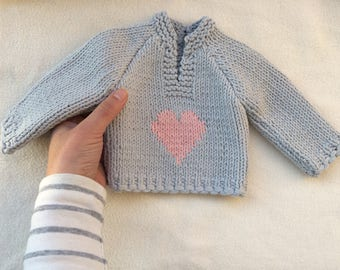 """Hand Knitted pink doll sweater for 16""""-17"""" Waldorf Doll with a heart, Waldorf doll clothes, Doll clothes, Doll knitwear"""
