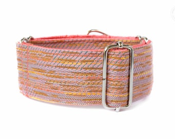 """Giselle, dog collar, salmon color, wide sighthound collar, 2"""" martingale, 1.4"""" martingale"""