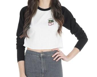 You Grow Girl Crop Raglan Top Shirt Tee T-shirt Fashion Vegan Go Cute
