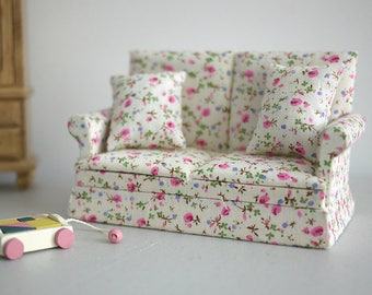 Dollhouse armchair cushion dolls house twin double seat sofa living room table 1 12th scale miniature