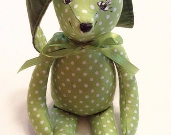 "Bunny, Easter Bunny, Plush Stuffed Bunny, Tiny Bunny, 8 1/2"" Tall, Bunny Rabbit, Handmade Bunny,Baby Nursery,Cuddly Bunny,Birthday Gift Z143"