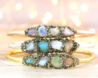 October Opal Jewelry, Gold Opal Jewelry, Opal Bracelet, Australian Opal Jewelry, Opal Jewelry for Wife, Opal Gift for Wife, Raw Opal