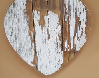 Reclaimed Wood Heart in White