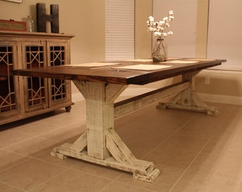 Farmhouse Pedestal dining table. Rustic table. Mission Trestle table. Cottage dining table. Shabby Chic dining table. Farmhouse table.