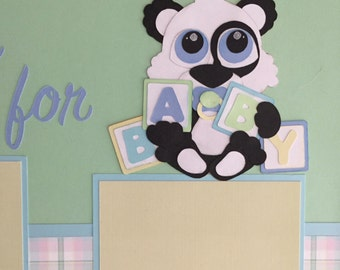 Baby Boy Panda premade Scrapbook Pages