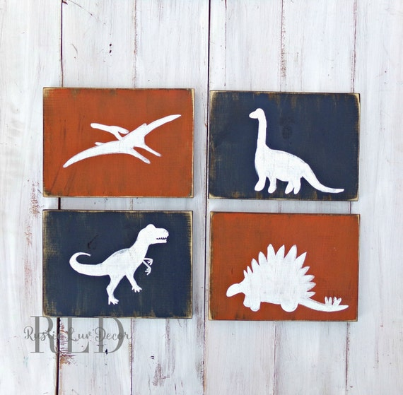 Rustic Wall Decor For Nursery : Dinosaur rustic wood decor set nursery by