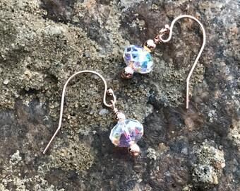 Swarovski Aurora Borealis crystal 8mm wafer drop earring