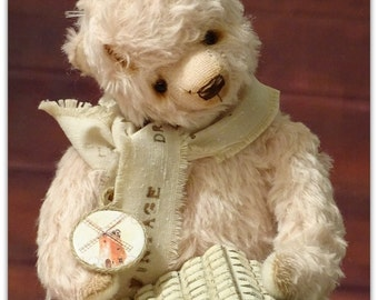 Dusty Pink Mohair Teddy Bear. Collectible handmade Artist Teddy Bear. OOAK.