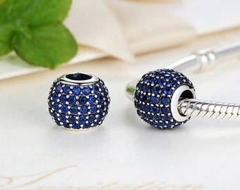Sterling 925 silver charm vibrant blue bead pendant fits Pandora charm and European charm bracelet