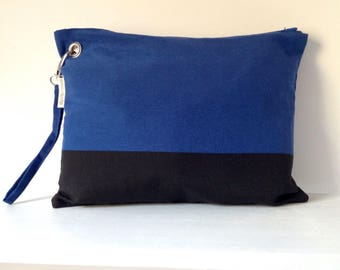 Cobalt blue and black clutch / Hand bag / OOAK / FREE SHIPPING