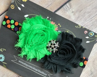 18+ Months Headband, Orange Green Black Polka Dot Shabby Flower Headband, Toddler Child Girl Adult Headband, Photo Prop