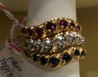 14K Yellow Gold Red, White, and Blue (Ruby, Diamond, Sapphire) Stackable Ring Trio