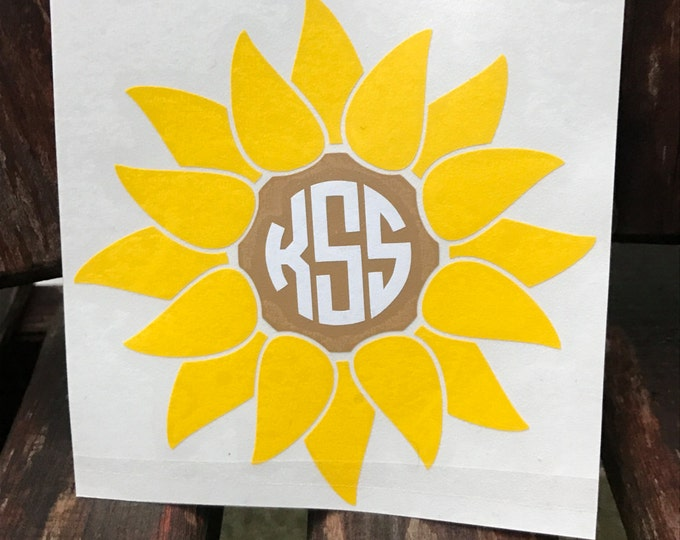 Sunflower Monogram Decal - Car Decal - Flower - Vine - Monogrammed