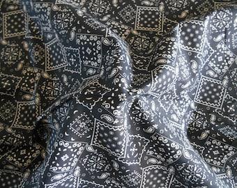 Black Bandana cotton fabric by the yard