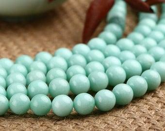 Natural Amazonite Beads, Smooth Round Aqua Blue Amazonite Gemstone Beads, 4mm 6mm 8mm 10mm 12mm Amazo Stone Beads Supplies  (B111)