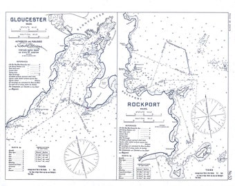 0458-GLOUCESTER and ROCKPORT HARBORS 1909 -Black and White- Nautical Chart by Geo. Eldridge