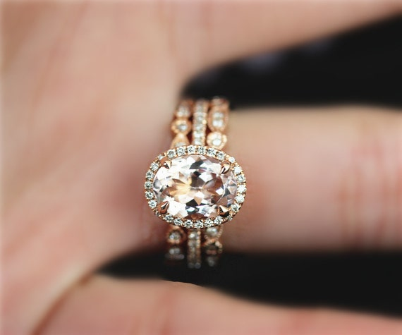 3 Pieces! Handmade Engagement Ring Set, 7x9mm Oval Cut Natural VS Pink Morganite Ring Set