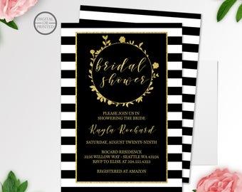 Black and Gold Bridal Shower Invitation | Floral Black & White Stripe Bridal Shower Invitation | Bridal Shower Invitation | Wedding Shower