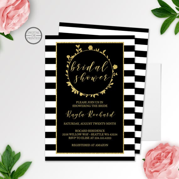 Black and gold bridal shower invitation floral black white il570xn filmwisefo