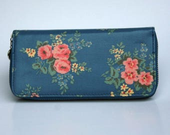 Womens Wallet, Leather Wallet, Blue Floral Wallet, Floral printed Purse, Floral Leather Purse, Floral Leather Wallet.