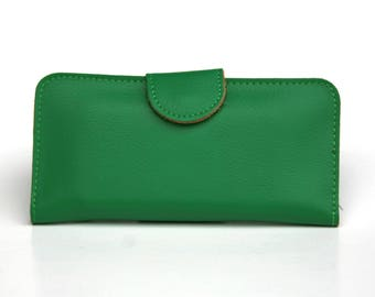 Womens Wallet, Leather Wallet, Green Wallet,  Green Purse