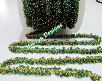 AAA Quality Emerald Beaded Chain Rondelle Faceted Corundum Beads 3mm Wire Wrapped Dangling Chain Gold Plated Rosary Chain Sold per FOOT