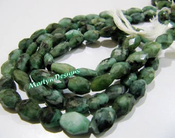 """Natural Emerald Mani Shape Faceted Beads , Oval Faceted Precious Stone Beads , Size 7x9mm to 8x10mm , Strand 13"""" long , Precious Stone Beads"""