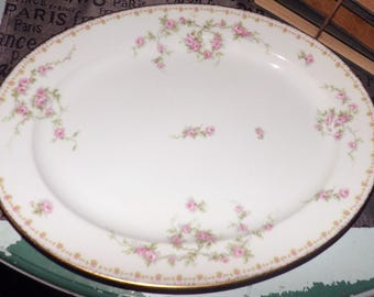 Antique (c.1910s) Mavaleix de Mandavy | Old Abbey Limoges France hand-painted vegetable platter in the Bridal Rose pattern. Gold edge.