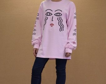 Baggy Oversized Pink Long Sleeved Cotton Crew Neck T-shirt With Athena Illustration Graphic 90s Arcade Retro Streetwear Vapourwave 1005