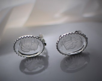 Victorian Style Clear Intaglio Cameo Clip On Earrings signed Whiting & Davis