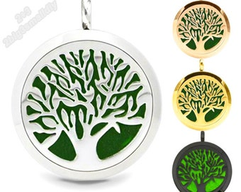 Tree of life charm stainless steel eo diffuser locket,Essential oil locket,Scent locket pendant,Oil diffuser perfume locket