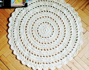 """Crochet rug ROUND CLASSIC 1 milk ivory 45,8""""/91 cm Bed side Baby area rug floor lace carpet. Table  lace tappeto tapis teppich häkelteppich"""