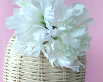 FA01【FABRIC FLOWER COLLECTION】White Dahlia Flowers Hair rubber band,Party Hair rubber band,Teenage Hair Accessory,Girl Friend Gift