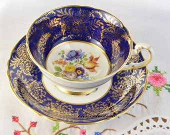 Paragon cup and saucer, hand painted tea cup, tea cup does have CRAZING