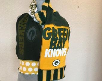 Green Bay Packers Scarf, Packers Scarf, Packers Football Scarf, GB4, tailgating Scarf, spirit scarf, Tshirt scarf, upcycled Tshirt scarf