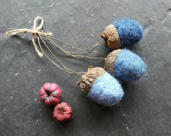 Felted acorns in blue rustic hanging decorations ornaments