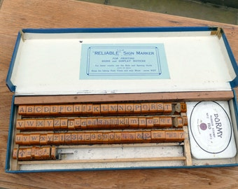 Vintage Alphabet & Number Sign Printing Kit - Boxed