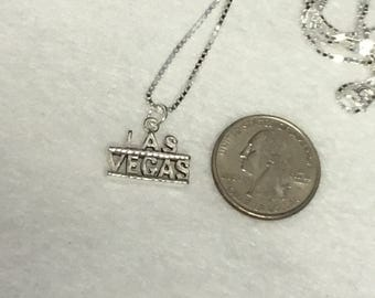 "Sterling Silver Las Vegas Pendant on 20"" Sterling Box Chain"