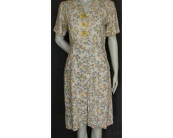 Vintage 1930s/30s 1940s/40s Cotton Floral Day DRESS Summer