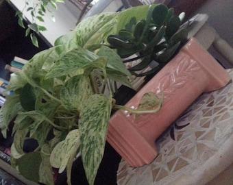 Vintage Planter pink flower pot with plants