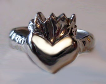 Love Ring,Flaming Heart Ring,Sterling Silver Heart,Promise Ring,Gift for Her, Unique Gift,Sacred Heart,Heart Ring,Statement Ring,Goth